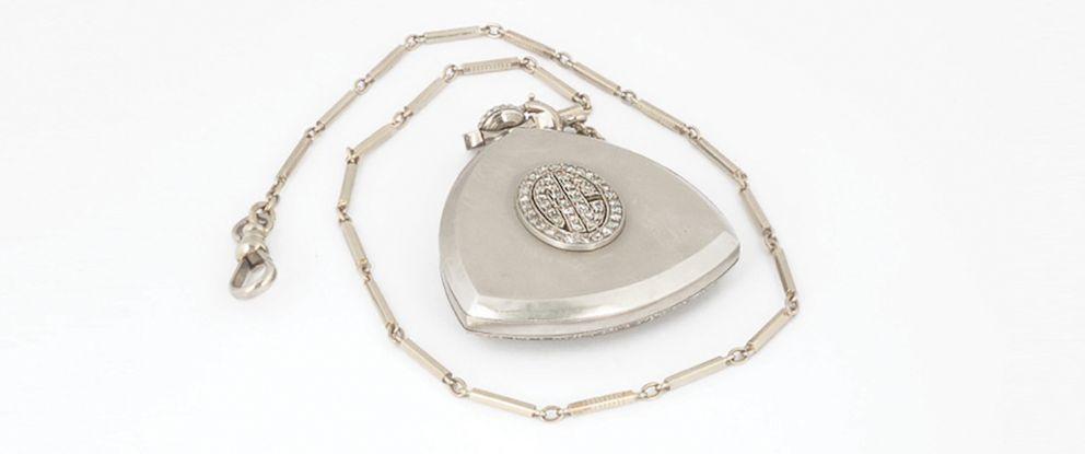 PHOTO: Al Capones grand art deco diamond-studded pocket watch.