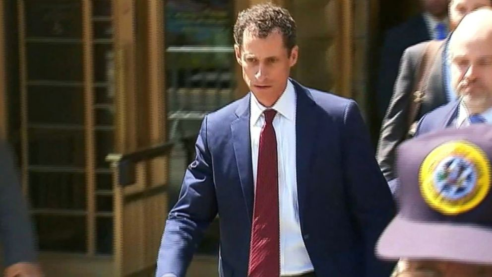 Anthony Weiner leaves a New York City federal courthouse, May 19, 2017.