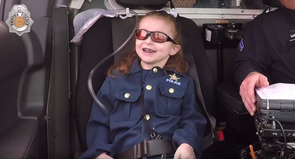 PHOTO: The Denver Police Department granted 6-year-old Olivia Gants bucket list wish to become a police officer for a day.
