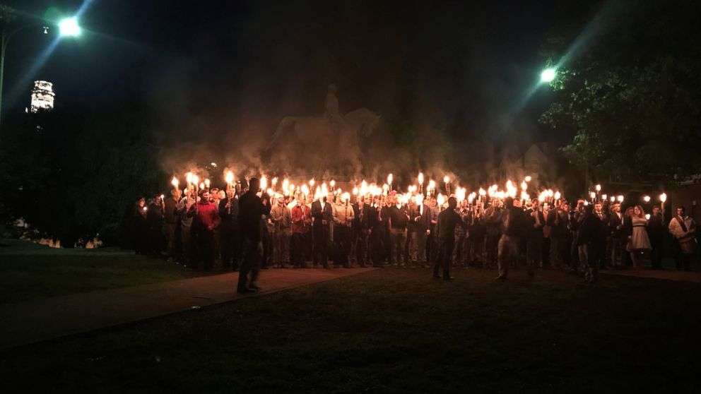 Torch-wielding protesters gathered at Lee Park in Charlottesville, Va., Saturday night, May 13, 2017.