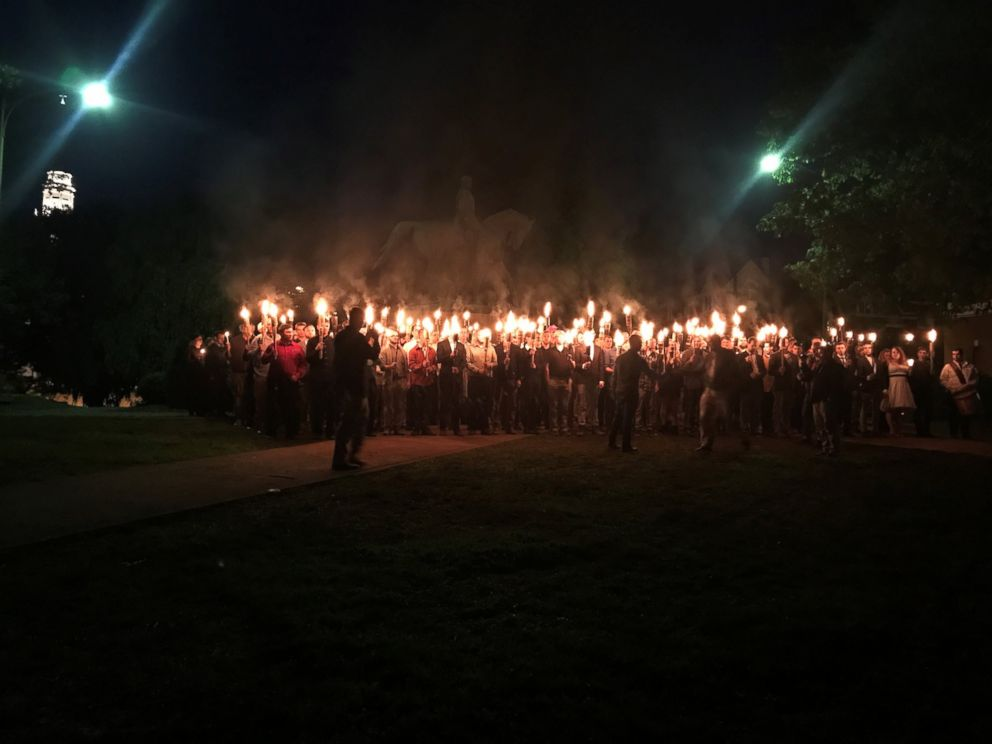 PHOTO: Torch-wielding protesters gathered at Lee Park in Charlottesville, Va., Saturday night, May 13, 2017.