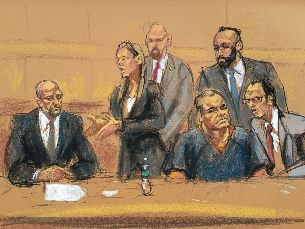 PHOTO: Joaquin El Chapo Guzman is seen in a court sketch, Feb. 3, 2017.