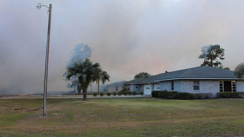 Polk County Fire Rescue posted this photo to their Facebook, April 22, 2017, showing the wildfire in Indian Lake Estates, Fla.