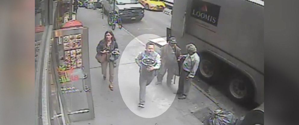 PHOTO: The New York Police Department said it is searching for an individual believed to have stolen an aluminum pail containing gold flakes valued at $1.6 million on Sept. 29, 2016.