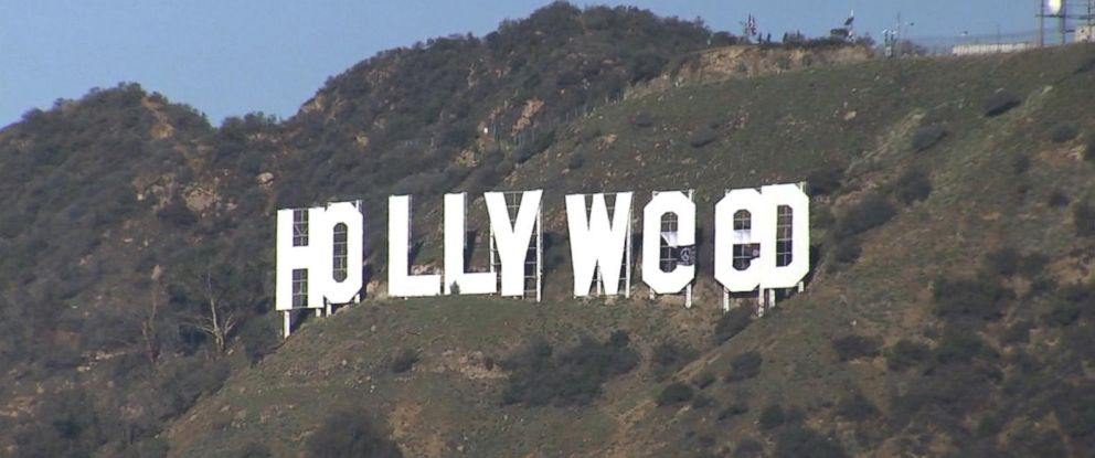 iconic hollywood sign vandalized in apparent new year s prank abc news