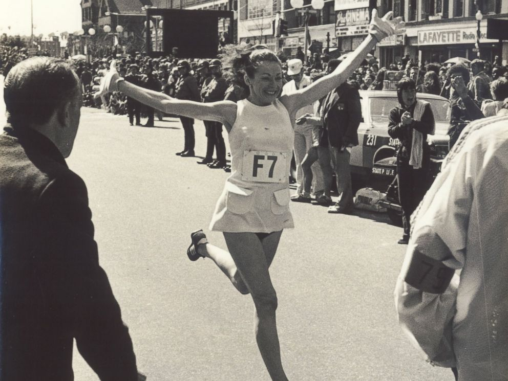 PHOTO: In 1975, Kathrine Switzer ran her personal best time in the Boston Marathon at 2:51.37.
