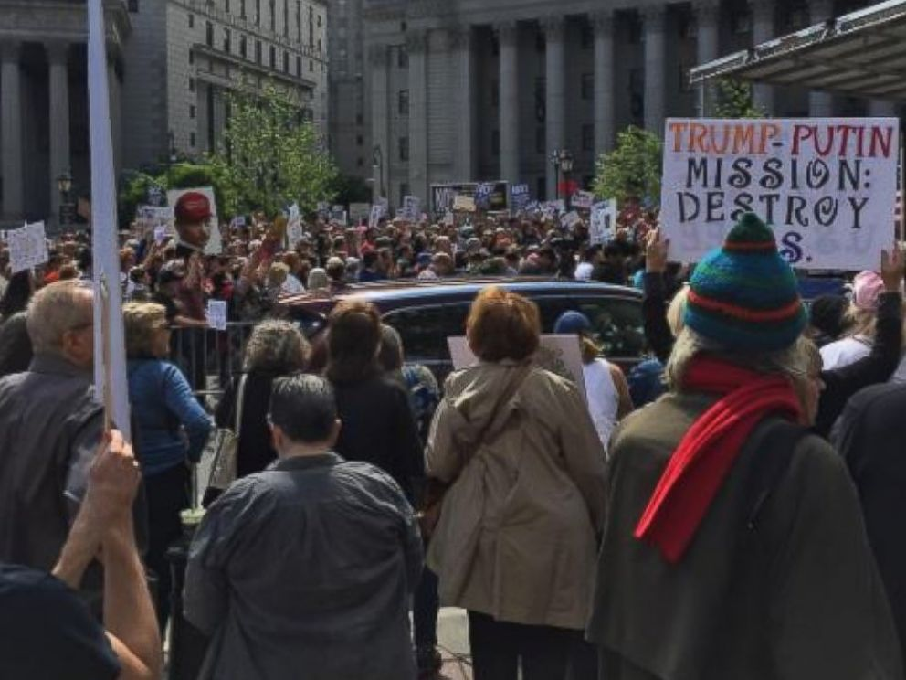 PHOTO: Tricia Viola posted this image to Instagram on June 3, 2017 with the caption, The scene in NYC. #marchfortruth #americaisgreatalready.