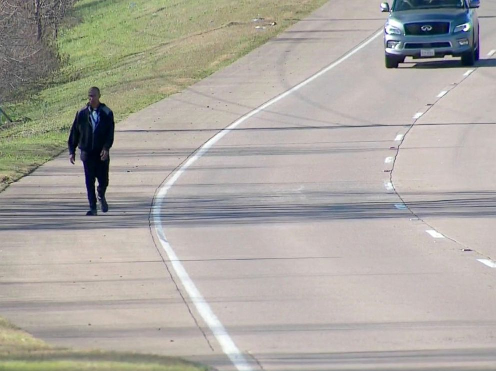 PHOTO: Patrick Edmond of Plano, Texas, walks about a dozen miles to work at an ice cream shop and restaurant in McKinney, Texas, five days a week.