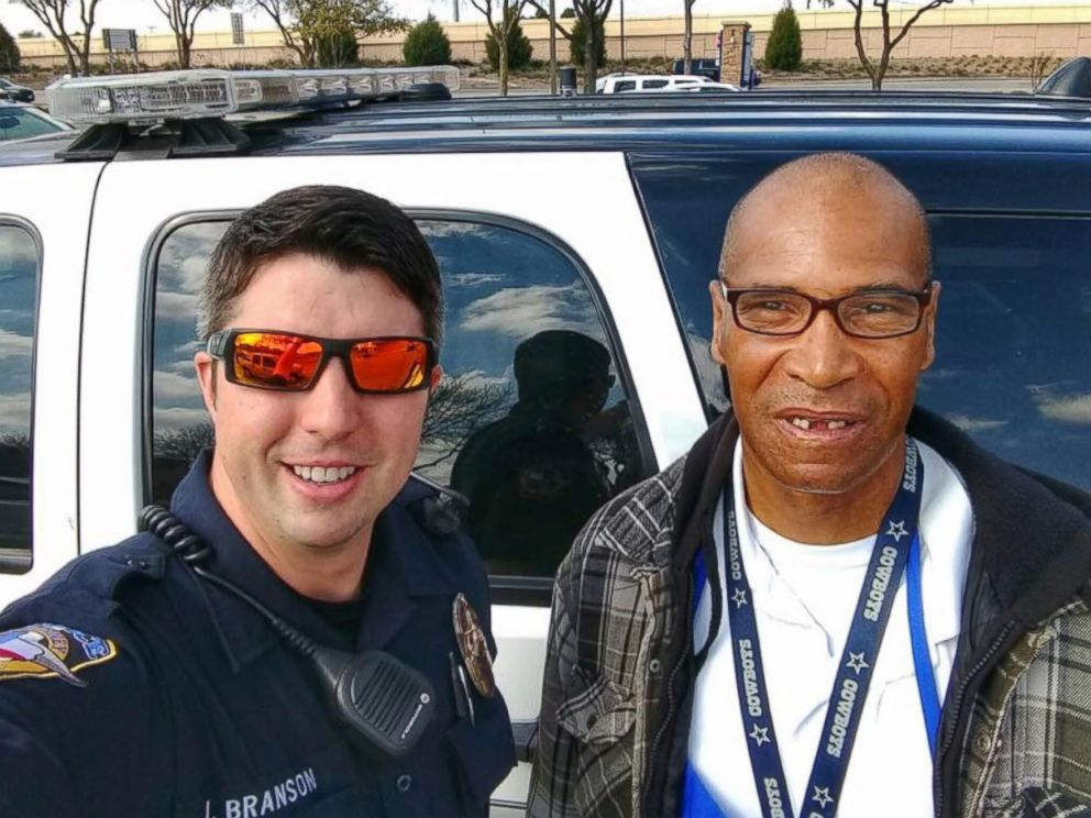 PHOTO: Officer Branson of the McKinney Police Department in Texas caught up with Patrick Edmond, who walks about a dozen miles to work five days a week, on Feb. 18, 2017.
