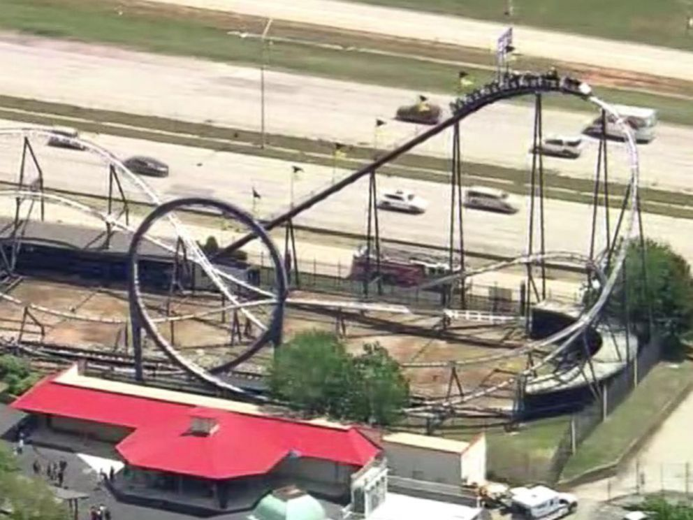 PHOTO: Riders were stranded on the Silver Bullet roller coaster at the Frontier City theme park in Oklahoma City, Okla., May 4, 2017.