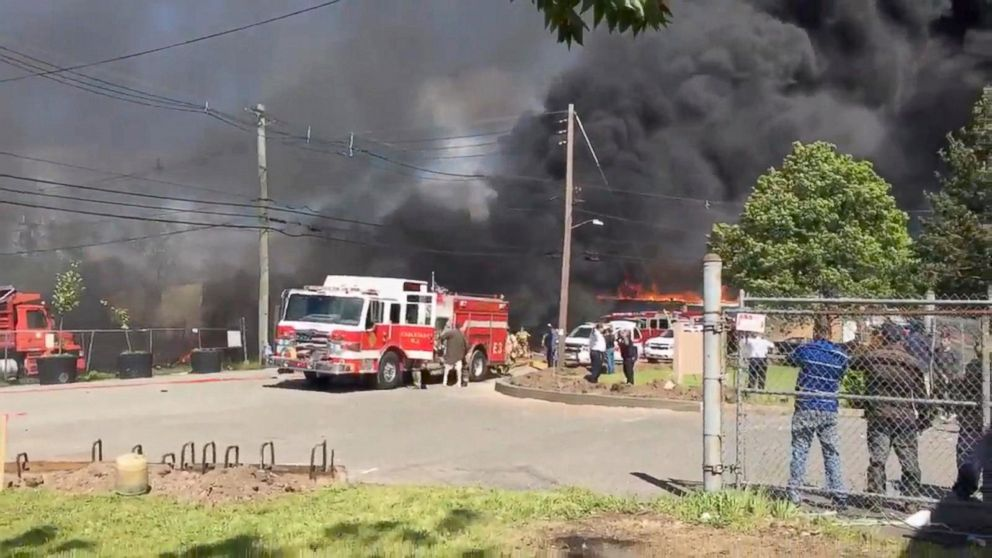 A small plane crashed in northern New Jersey, May 15, 2017.