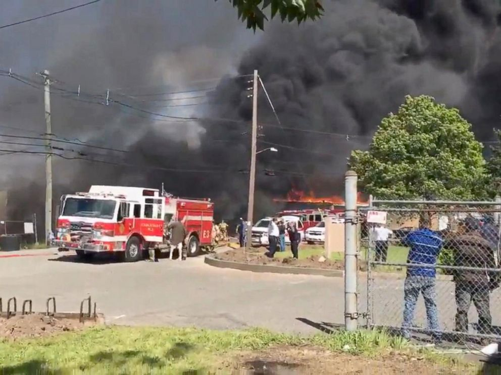 PHOTO: A small plane crashed in northern New Jersey, May 15, 2017.
