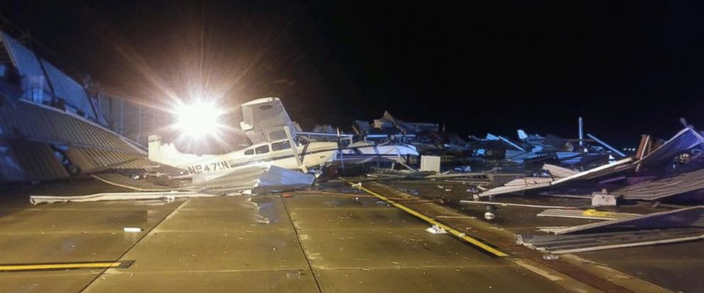 PHOTO: Damage from a storm is seen here in Johnson County, Kan., March 7, 2017.