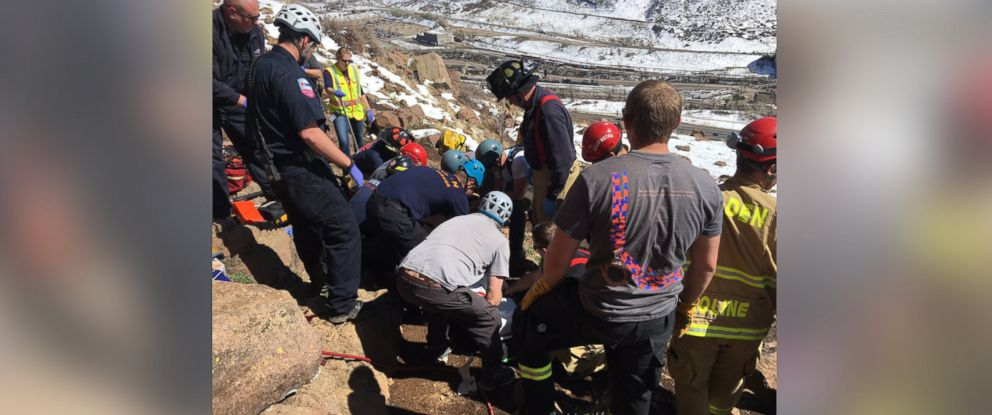 PHOTO: West Metro Fire shared this photo on Twitter, April 5, 2017. A 30-year-hiker is alive after she was freed from beneath a 1,500-pound boulder on the Rocky Mountains, according to fire officials.