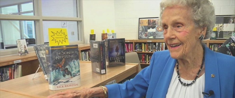 PHOTO: Eugenia Bumpass, 100, is pictured here in the library being dedicated to her at Louisa County High School in Mineral, Virginia.