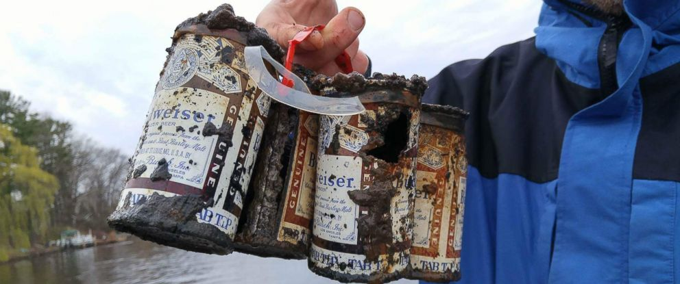 PHOTO: This pack of Budweiser beer was reeled in by three Wisconsin fishing friends on April 17. Budweiser officials say the cans date back to at least 60 years.