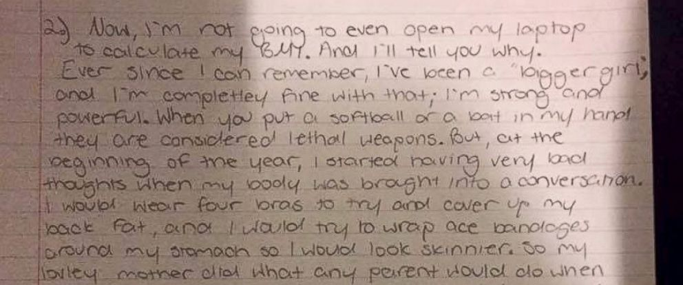 PHOTO: An 8th-grade girl from Indiana wrote a letter to her school and refused to calculate her BMI for a class assignment.