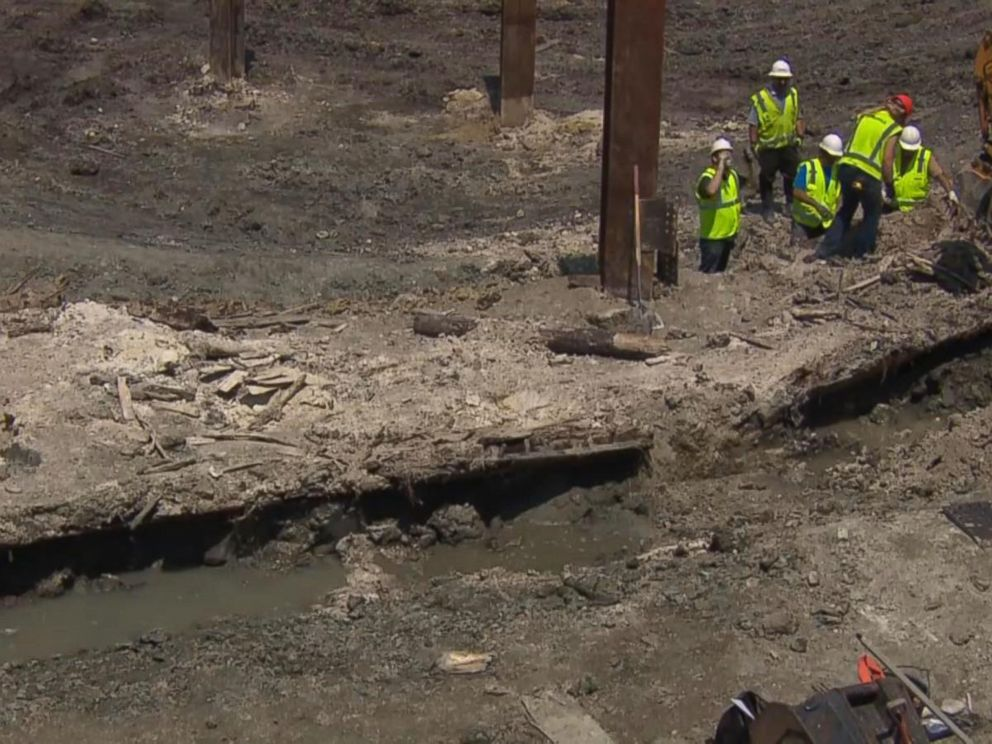 PHOTO: A 19th century shipwreck was discovered at a construction site at 121 Seaport Blvd in Boston.