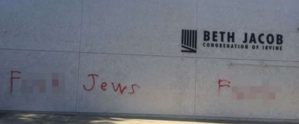 PHOTO: The Beth Jacob Synagogue in Irvine, California, was vandalized on Wednesday, Oct. 31, 2018.