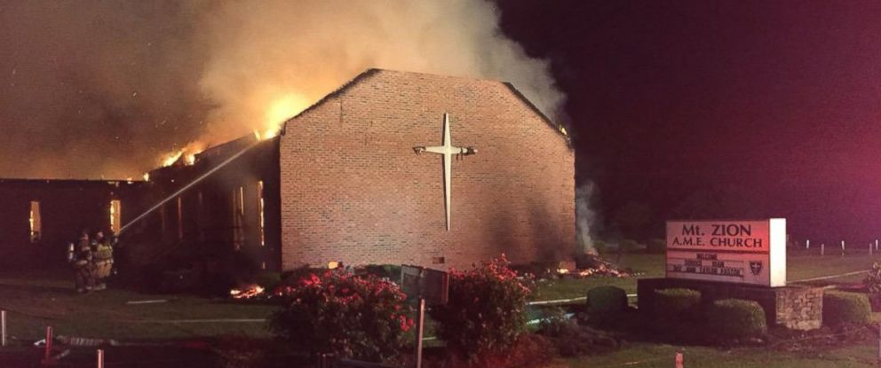 PHOTO: A fire broke out at the Mt. Zion AME Church in Greeleyville, South Carolina, June 30, 2015.