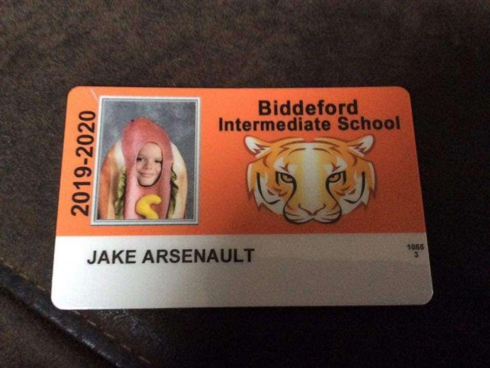 PHOTO: A fourth-grader at Biddeford Intermediate School dressed as a hotdog for his school photo.