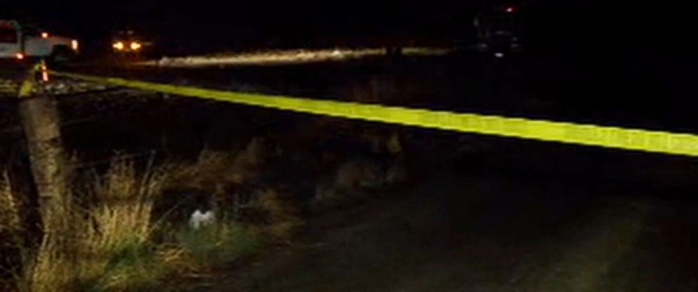PHOTO:Yellow tape is seen at the crash site of a medical helicopter crash in Kern County, Calif.