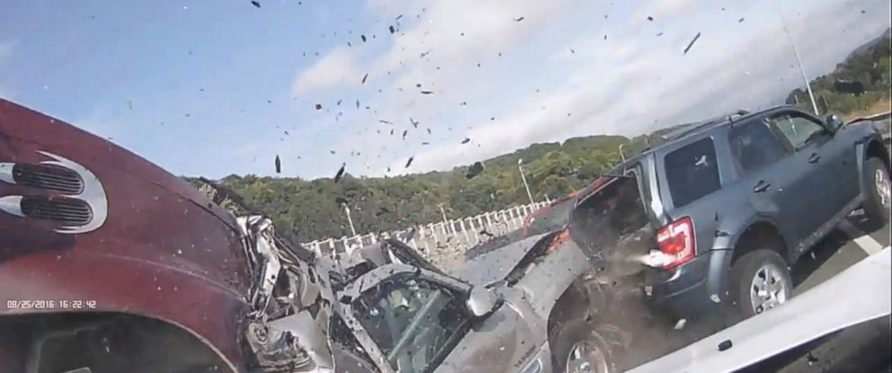 PHOTO: Dramatic dashcam footage of a pileup on a highway in Binghamton, New York was shared by the towns mayor.