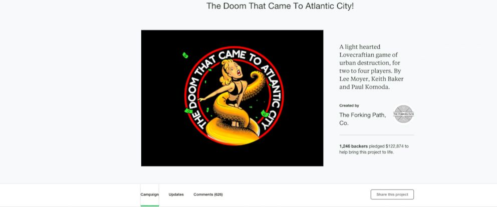 PHOTO: A screen grab from The Forking Path Companys Kickstarter page of The Doom that Came to Altantic City! project.
