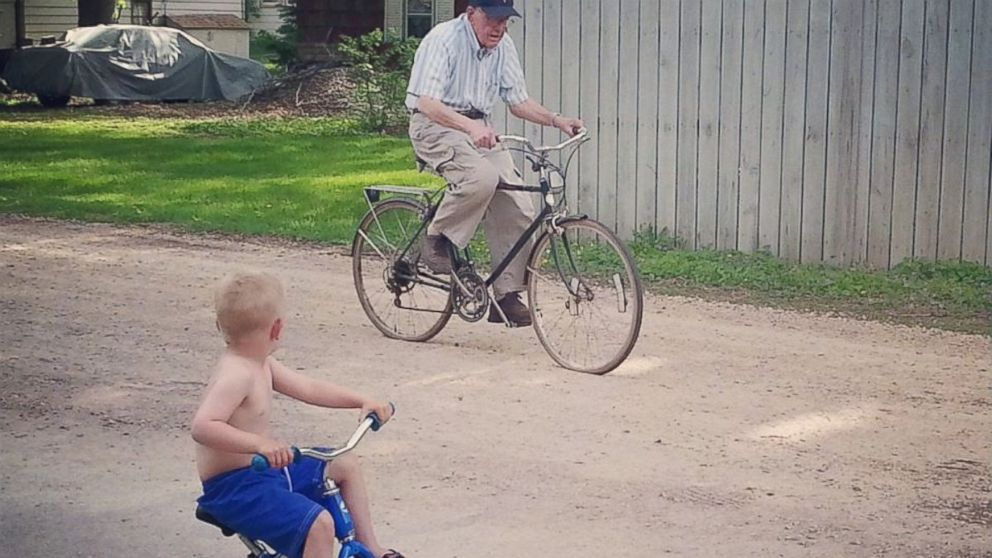 Emmett, left, and Erling biking together near the house.