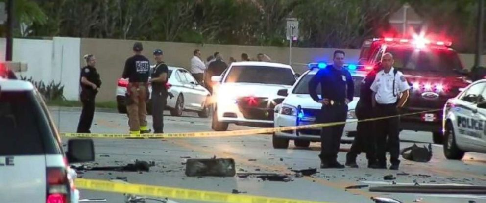PHOTO: Police investigate a deadly Tesla crash and fire that took the lives of two Florida high school students.
