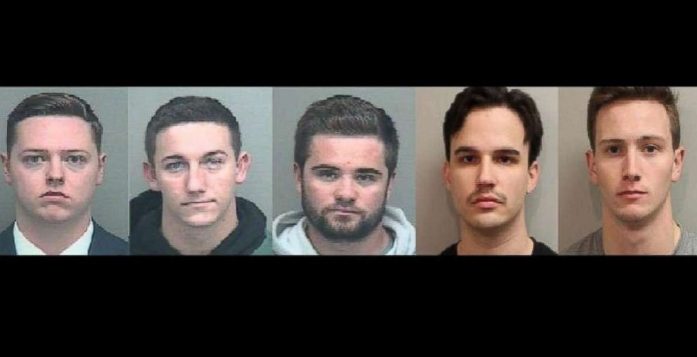 PHOTO: Kyle Bauer, Brett Birmingham, Christopher Hamlin, Conner Ravelo and John Ray pleaded guilty on Monday in the hazing death of Andrew Coffey.