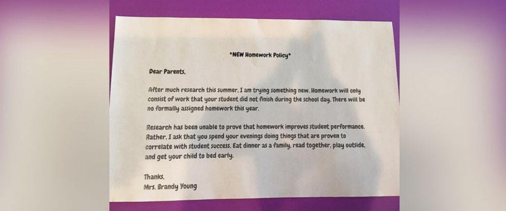 Down With Homework Teachers Viral Note >> Texas Teacher Announces No Homework Policy For Class Abc News