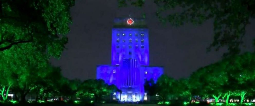PHOTO: Houston's City Hall building lit up in blue, Bush's favorite color, as a part of a multi-day tribute to her on Wednesday.