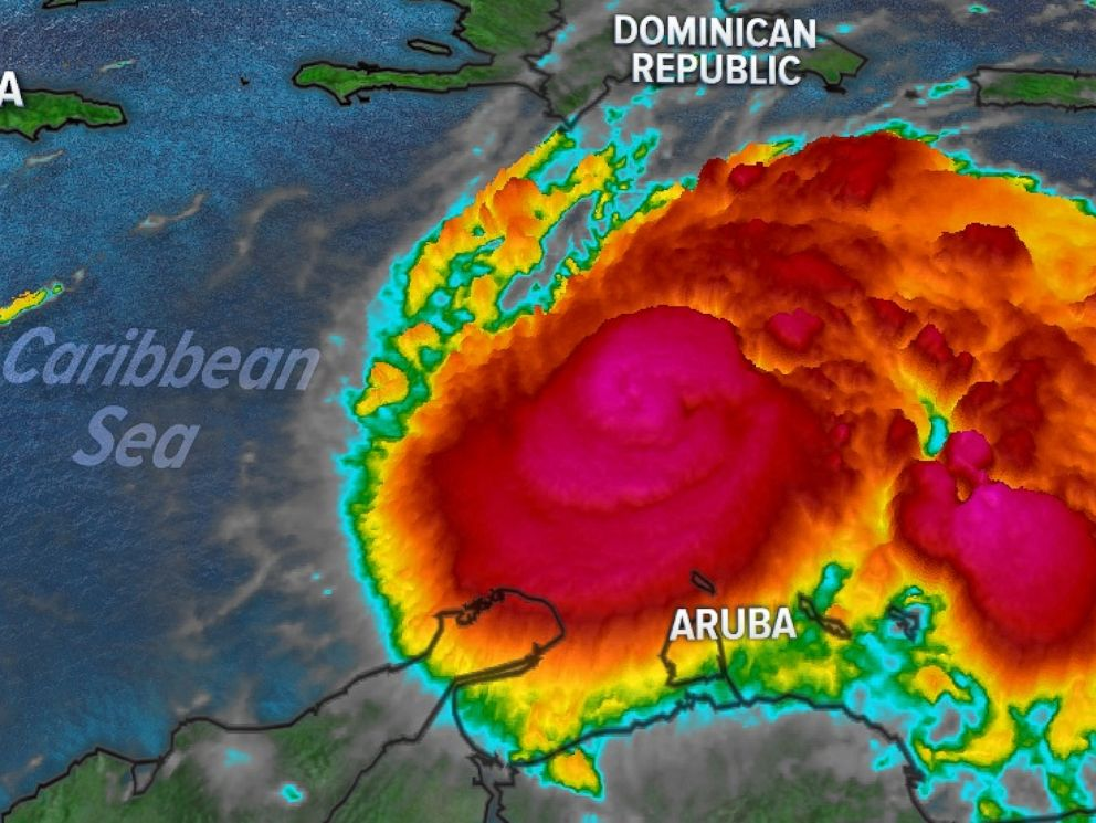 PHOTO: Satellite of hurricane Matthew moving through the Caribbean Sea on Friday morning, Sept. 30, 2016.
