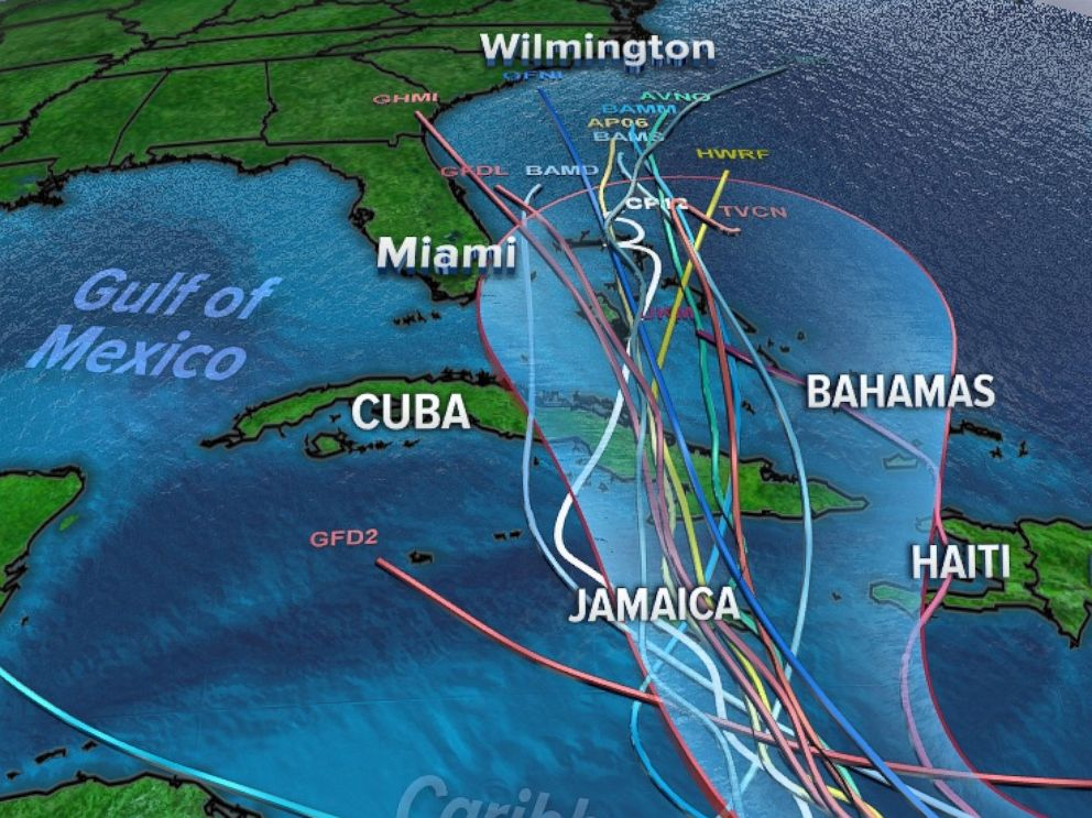 PHOTO: An overlay of spaghetti models with National Hurricane Centers forecast track of Matthew. Showing most of the models keeping Mathew east of Florida by early next week.