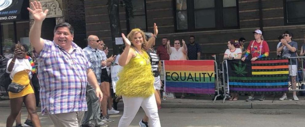 PHOTO: Illinois Governor Jay Pritzker marched in Chicagos pride parade on Sunday, June 30, 2019, after signing an executive order that aims to protect transgender students.