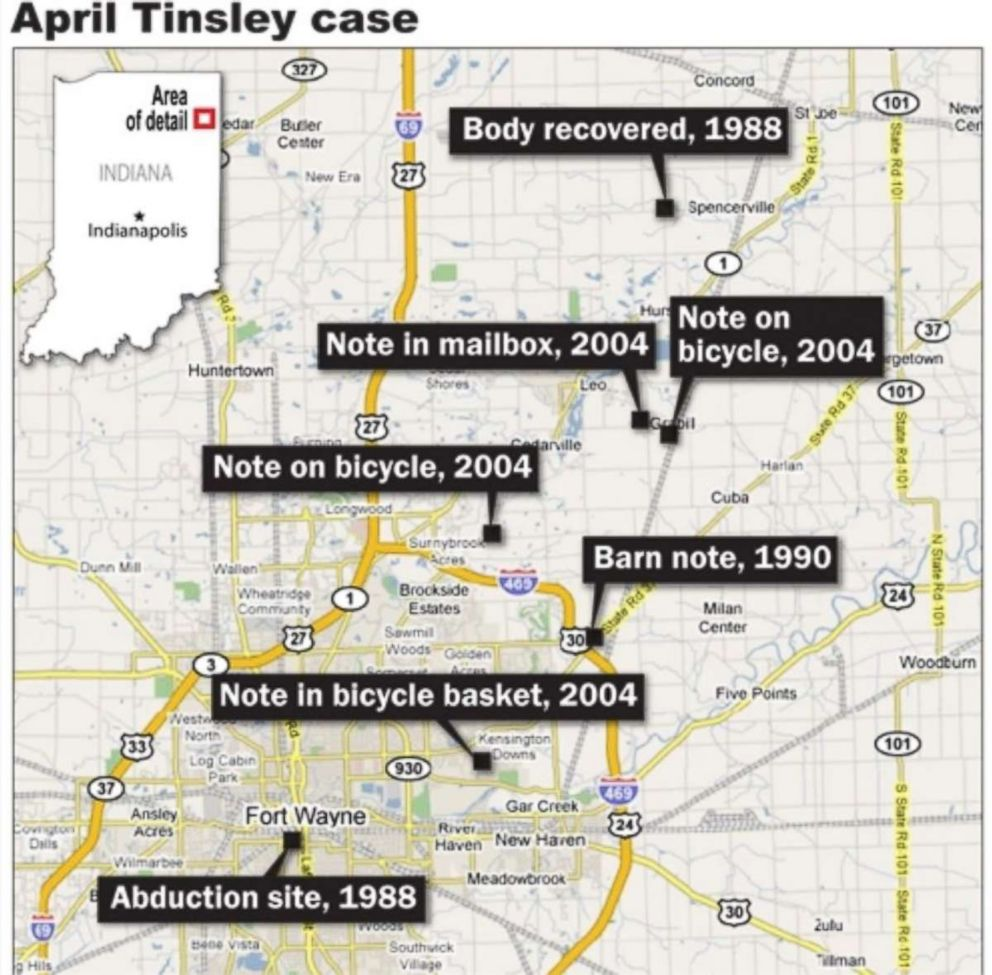PHOTO: Police received a lead in the murder case of April Tinsley in 2004, when the self-proclaimed killer left notes, images and used condoms at three different locations in Indiana.