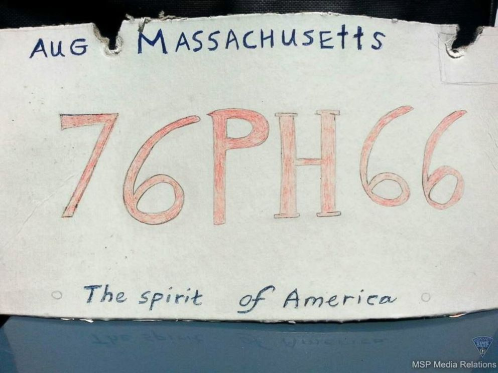 PHOTO: A driver was pulled over in Chicopee, Mass., Sept. 2, 2014, using this homemade license plate, police said.