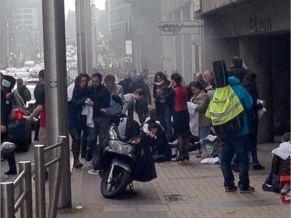 PHOTO: In a photo posted on Instagram, victims of the explosion inside the Maalbeek metro station wait above ground for medical treatment, March 22, 2016.