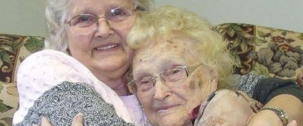 PHOTO: Betty (Eva May) Morrell, 82, and mother Lena Pierce, 96, reunited at Greater Binghamton Airport on Jan. 15, 2016. Morrell was searching for Pierce for 50 years.