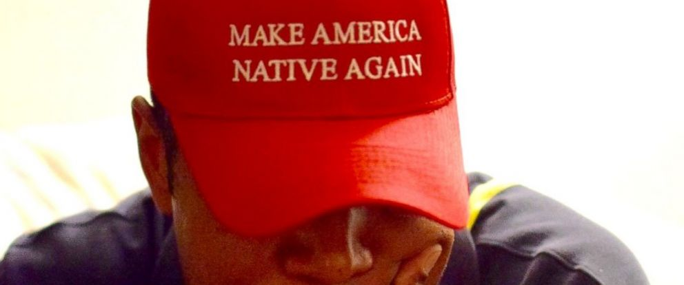 "PHOTO: Vanessa Bowen, a Navajo artist from Albuquerque, New Mexico, has designed and produced ""Make America Native Again"" hats."