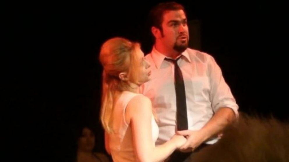"Daniel Wozniak and Rachel Buffet performed in the musical ""Nine"" at the Liberty Theater on the night Sam Herr was killed."