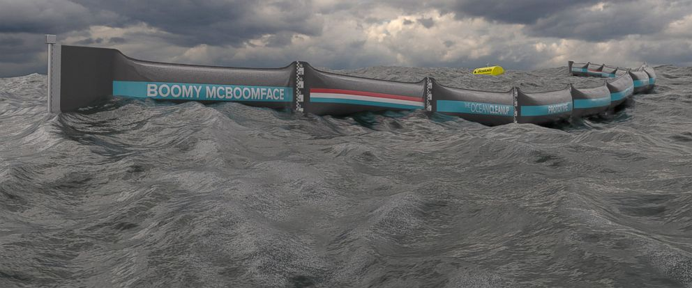 PHOTO: The Ocean Cleanup, the Dutch foundation developing advanced technologies to rid the oceans of plastic, unveiled its North Sea prototype. When installed later this week, the prototype will become the first ocean cleanup system ever tested at sea