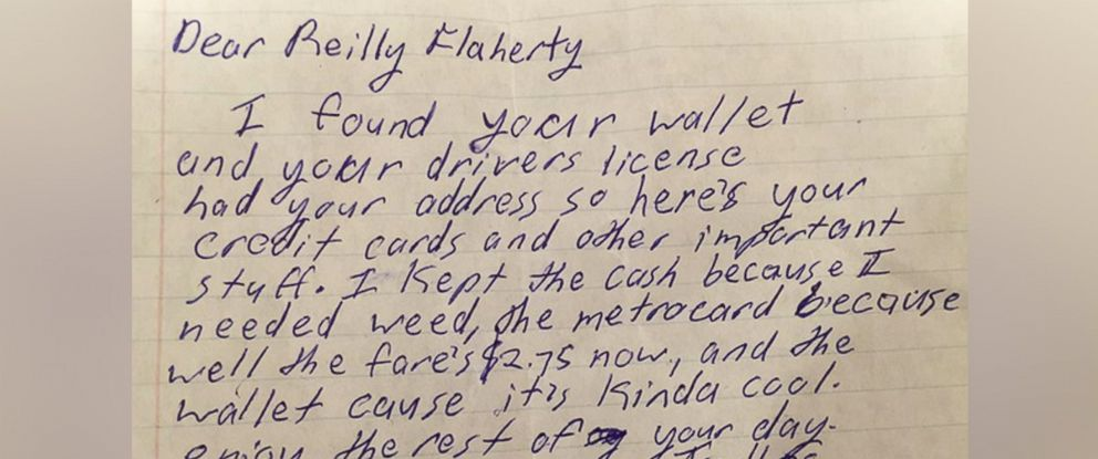 PHOTO: Reilly Flaherty lost his wallet at a Wilco concert on Feb. 5, 2016. His license and credit cards were sent back to him along with a letter from an anonymous person.