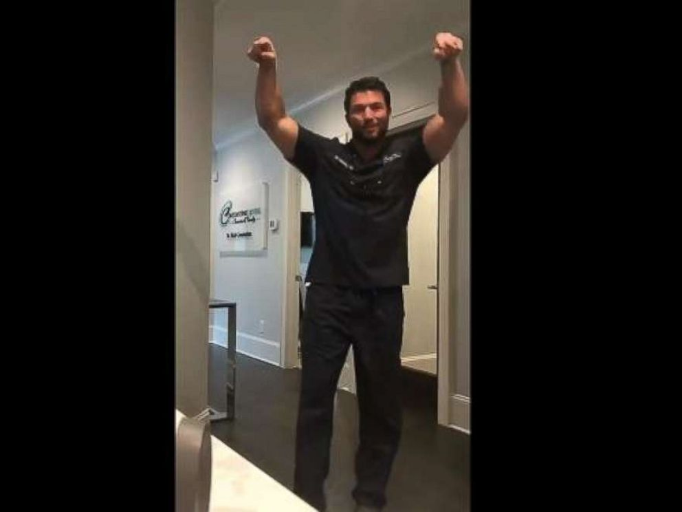 """PHOTO: Dr. Rich Constantine, a dentist at Constantine Dental in Greenville, South Carolina, said he just wanted to """"make patients smile"""" on Thursday when he posted video of himself participating in the challenge."""