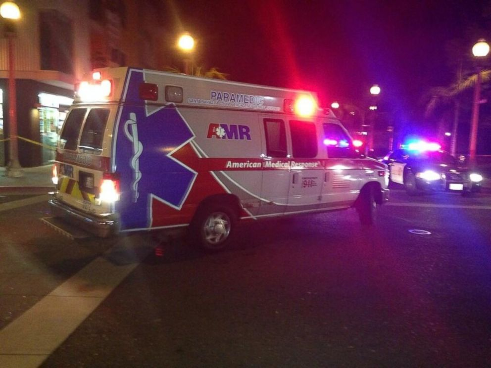 PHOTO: Oscar Flores posted a photo of an ambulance driving past where at least seven people were killed in a mass shooting, according to the Santa Barbara County Sheriffs Office, in Santa Barbara, Calif., on Saturday, May 24, 2014.