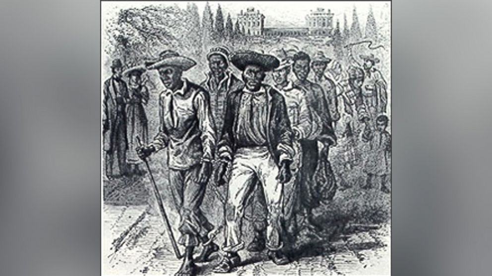 A slave coffle passing the Capitol grounds, 1815, published in A Popular History of the United States, 1876.