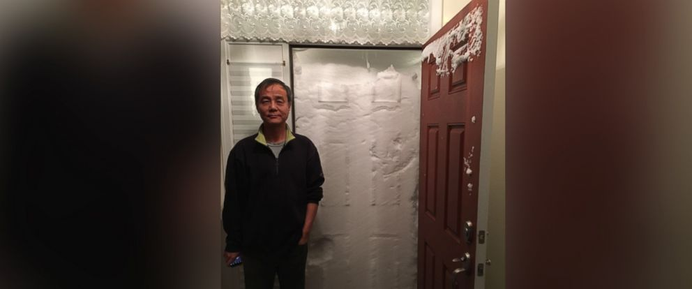 PHOTO: Shawn Yin and his wife Helen were trapped in their house by a massive snow drift.