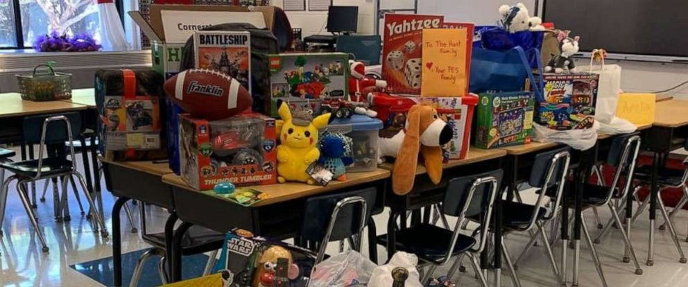 PHOTO: Students and teachers at Philadelphia Elementary School in Tennessee held a secret toy drive for a third-grader who lost his toys in a house fire.