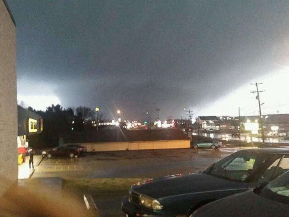 PHOTO: James Overton posted this photo on Twitter with this caption: Holly Springs tornado facing south on highway 7 at OReillys, Dec. 23, 2015.